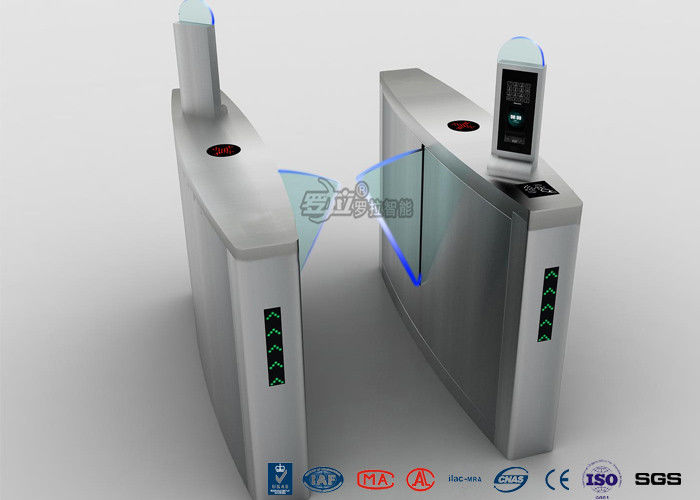 Automatic Facial Recognition Turnstile , Fast Lane Retractable Flap Barrier Gate