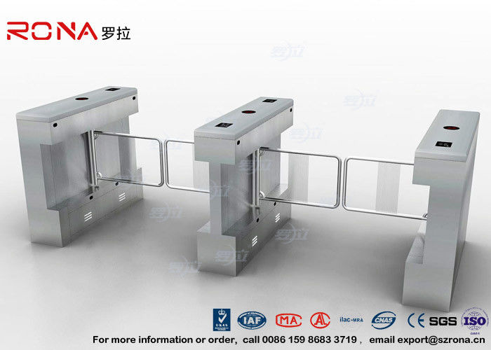Gym Swing Barrier Gate Electronic Stainless Steel Turnstile Double Swing IP 54 LED Indicator