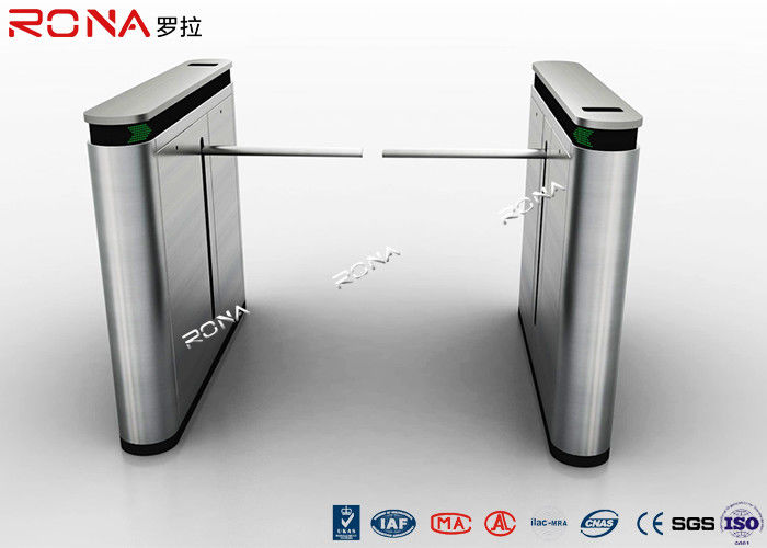Shopping Mall Drop Arm Turnstile Gate 304 Stainless Steel 2 RFID Readers Windows